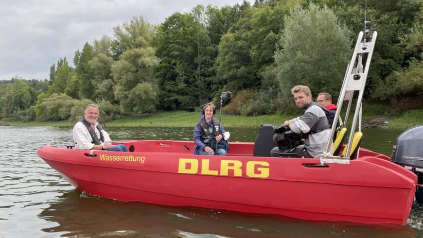 Dreh mit Löschboot und HR Fernsehen in Waldeck